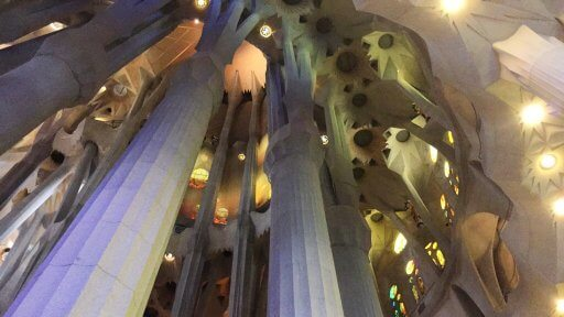 The first thing that strikes you is the scale of the building. There is no way to deny that it is huge. Then there are the magnificent columns, rising like tree trunks and branching to support the ceiling. When you look at them, they seem to be too delicate to support the load of the roof. That is another example of Gaudí's design genius.