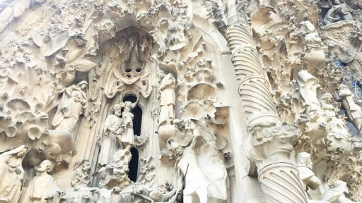 The sculptures on the Sagrada Família's Nativity façade were made by various artists and perfectly incorporated in the façade's Gothic design. It was completed in 1905 and Antoni Gaudí was directly involved in its construction.