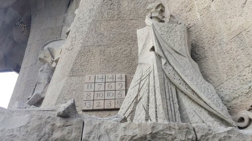 There are 16 scenes on the Passion façade. Here is the Judas Kiss, the devil represented as a snake and the Magic Square in which every row, column and diagonal and even the four corners and the inner four squares all add up to 33, the age of Christ when he died.