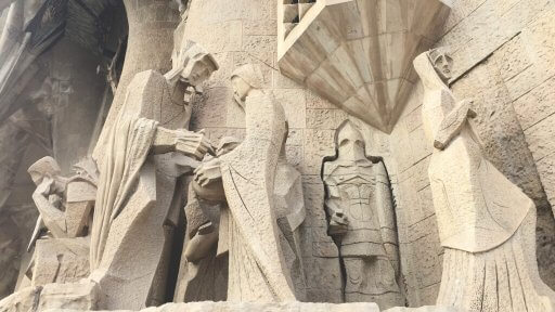 There are 16 scenes on the Passion façade. Here Pontius Pilate washes his hands, signifying that he will not overturn the verdict to put Jesus to death.