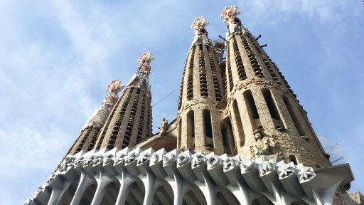 Of the 18 towers Gaudí planned for the Basilica of the Sagrada Família there are presently eight completed; four on the Nativity facade and four on the Passion facade.