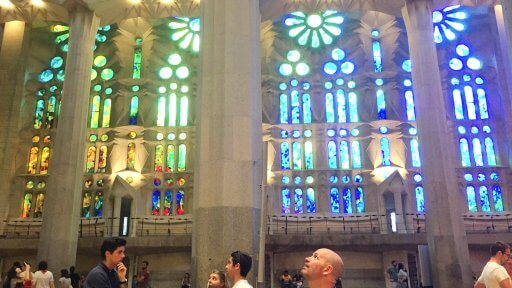 "There are more ""wows"" as you walk around. The stained glass, with the light shining through, casts a glow over the inside. The mood and colour of the glow changes throughout the day as the sun moves and strikes different parts of the glass."