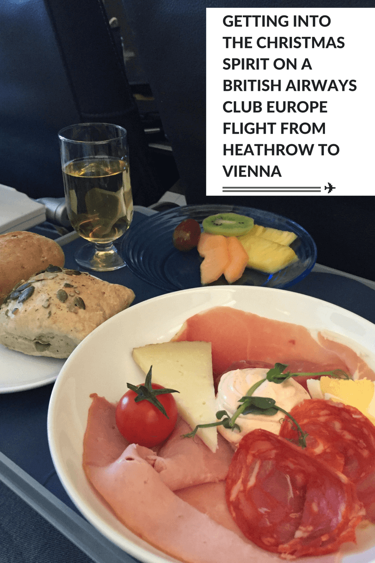 Getting into the Christmas spirit on a British Airways Club Europe flight from Heathrow to Vienna