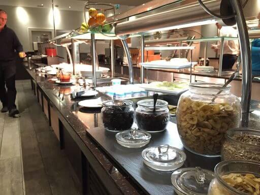 The cold breakfast buffet at Hilton Garden Inn London Heathrow Airport