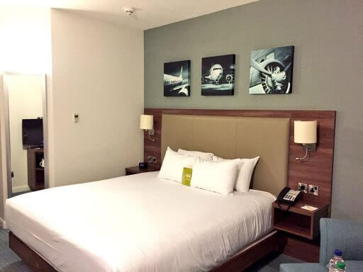 Our spacious well equipped bedroom at Hilton Garden Inn London Heathrow Airport
