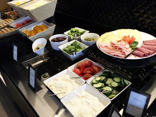 Hilton Tallin Park's Executive lounge breakfast buffet includes a tasty selection of cold meats & cheeses. A tasty start to the day ahead.