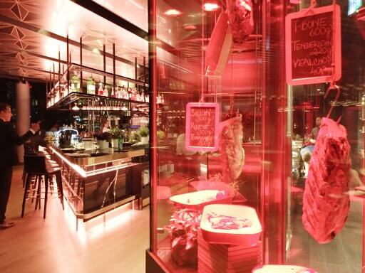 The Able Butcher's meat locker, adjacent to the kitchen, shows off the joints of beef and the large wine room offers a great display of the many wines and champagnes on offer.