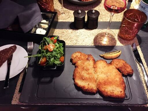 On Saturday evening we headed back to The Able Butcher for dinner. Andy went for the Milanese Veal Cutlet which was accompanied by ruccola and cherry tomatoes. The portion was generous and packed with flavour!