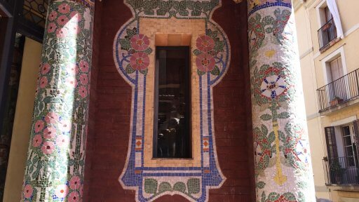 Much of the decoration of The Palau de la Música Catalana features flowers and plants. There is also a lavish use of brightly coloured mosaic. Perhaps the best display of the mosaic is on the balcony just off Sala Lluís Millet. The pillars on the balcony are simply stunning!