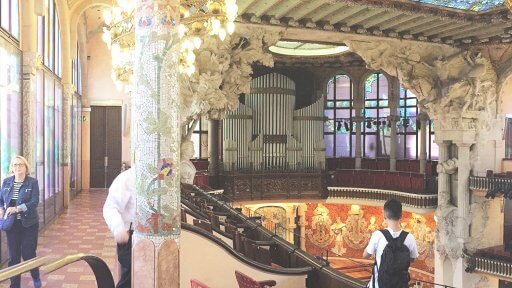 Above the stage is The Palau's concert organ. When it came down to the organ Montaner took the pragmatic decision to buy the best. The organ was built by German firm Walcker in Ludwigsburg and is the only thing that wasn't sourced locally.