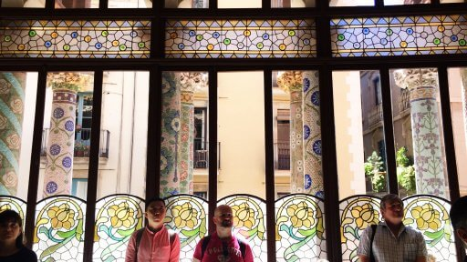 The beautiful stained glass windows of Palau de la Música Catalana's Sala Lluís Millet,