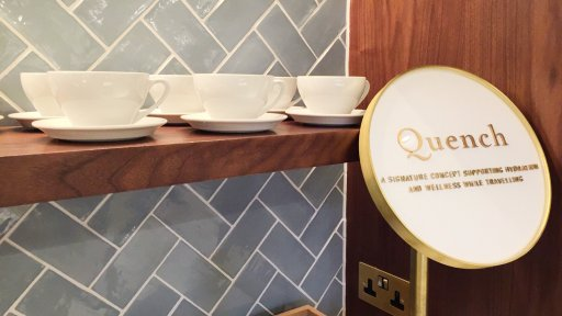 Qantas London Lounge's Quench hydration station - a signature concept supporting hydration and wellness while travelling