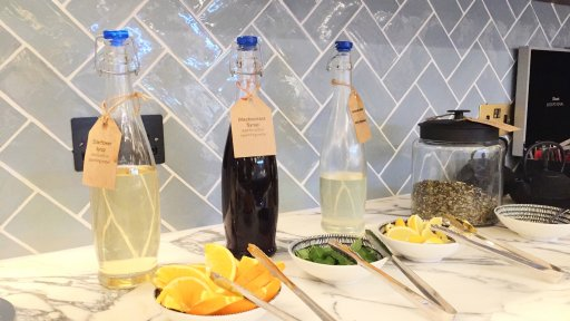 Qantas London Lounge's Quench hydration station offers a selection of fruit infused water, cordials & sparkling water.