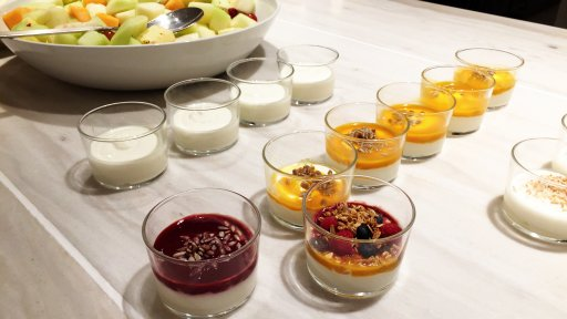Qantas London Lounge offers a selection of tasty yoghurts during their brunch service.