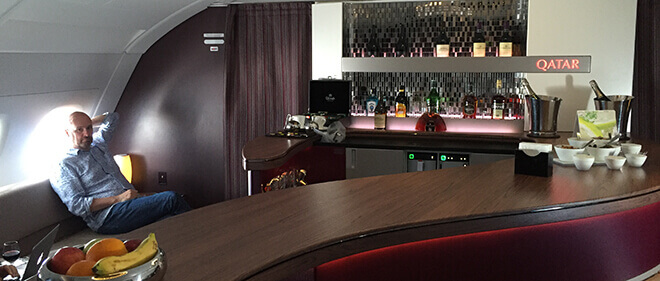 We love flying Qatar Airways fantastic Business Class, especially on their A380! This is where you'll find the best bar in the sky!