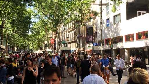 We made our way along Las Ramblas to find the cooking school. Normally when we walk down Las Ramblas, we aren't on a timetable. As we were battling our way through the crowds I was struck by how long it takes to navigate through a throng of tourists.